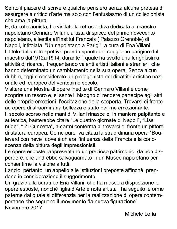 Loria sulla mostra di Gennaro Villani al Grenoble