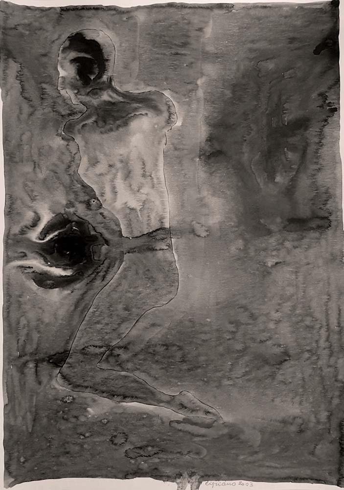 Dipinto di Franco Cipriano, titolo L'enigma della ninfa