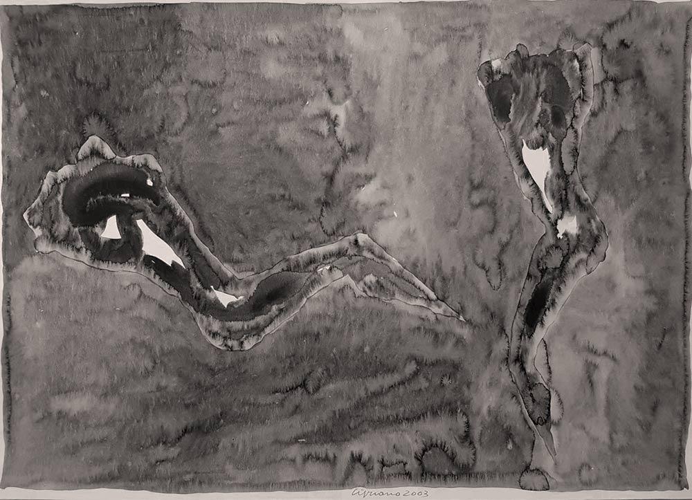 Dipinto di Franco Cipriano, titolo Le ombre dell'eros