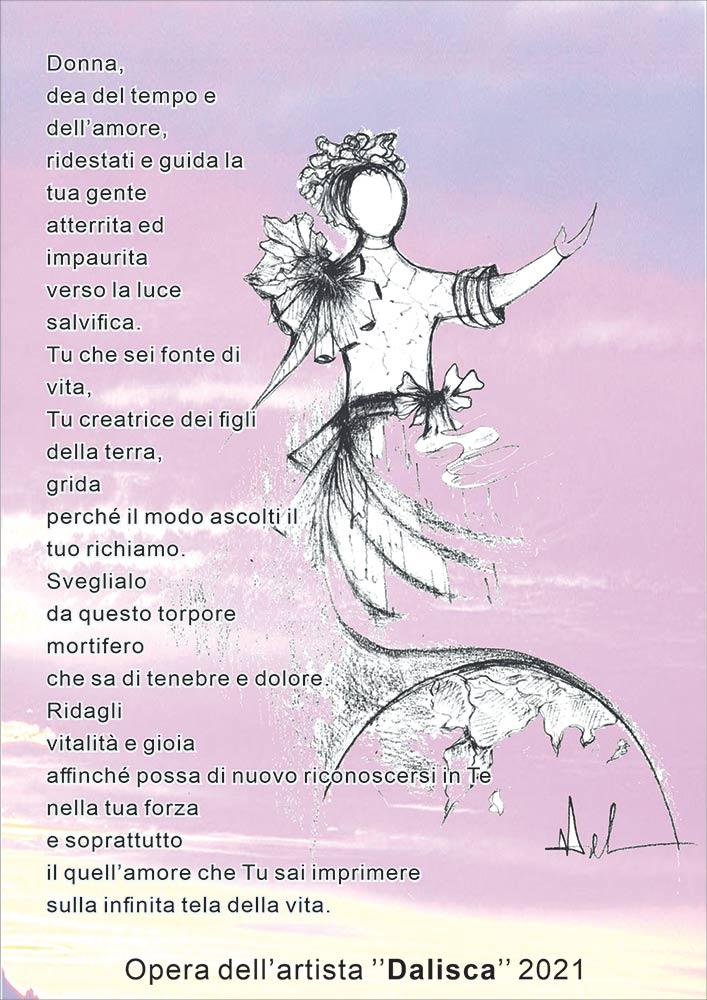 """""""inno alla donna"""", Marciano Arte galleria fa gli auguri di Pasqua 2021 con i versi e il disegno di Dalisca"""